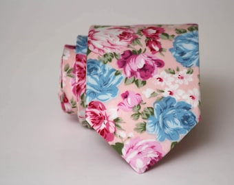 Mens Necktie Pink floral Mens Tie Wedding tie Groomsmen tie Men's necktie Gift for men TC208