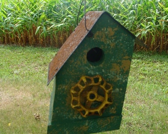 Rustic Birdhouse with Vintage Recycled Faucet Outdoor Birdhouse Functional Bird House Grass Green Lemon