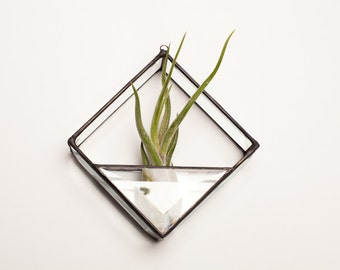 Square Geometric Stained Glass Air Plant Terrarium