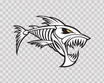 Decal Stickers Skeleton Fishbone Power Fishing Fisherman fish boat diver 08755