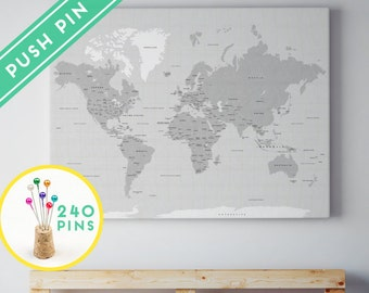 Outdoors gift world map canvas rustic gray color ready to large world map canvas rustic gray color countries capitals usa canada states 240 pins gumiabroncs Gallery