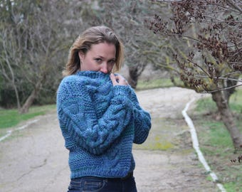 Bomber Jacket warm wool cardigan knit blue jacket knit cardigan jacket wool cardigan warm wool cardigan Knit wool cardigan Wool knit jacket