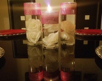 "Set of 3 (9"", 7.5"", 9"") (7.5, 9"", 7.5) or 3 (9"") or 3 (7.5""), Cylinder Vases, Rhinestone Vases, Wedding Centerpiece, Candle Holders, Glasses"