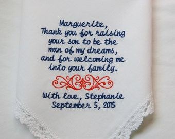 Thank You For Welcoming Me- Choose Your Design- Gift to Mother of The Groom From Bride- Embroidered Wedding Handkerchief