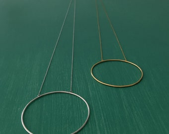 Necklace with 925 silver circle pendant or 24k gold plated