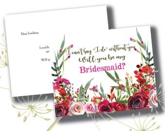 Will You Be My Bridesmaid CUSTOM Card // Notecard // Watercolor Bridesmaid Card // Maid of Honor  //  Wedding Party Card // Bridal Party