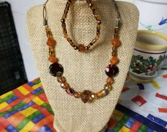 Brown  Multi Bead Necklace with Bracelet