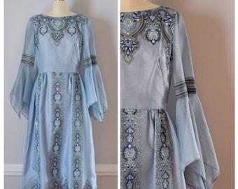 Vintage Dress / 70s Dress / Vintage 70s Dress / 70s Boho Dress / 70s Maxi Dress / Blue / Hand Printed Dress / Alfred Shaheen / Extra Small