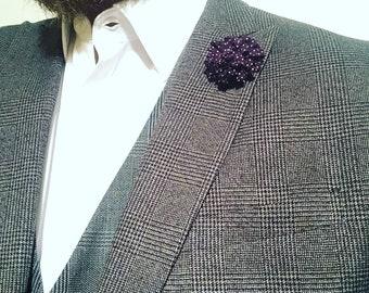 Mens Wine Burgundy Spot Mens Lapel Pin Flower Wedding Boutonniere Groomsmen Lapel Pin