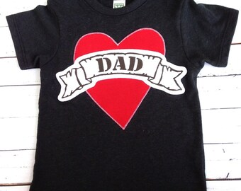 Dad tattoo Valentine's Black tshirt kids Father's Day outfit Shirt Applique shirt card gift kids baby children clothing hip Boutique