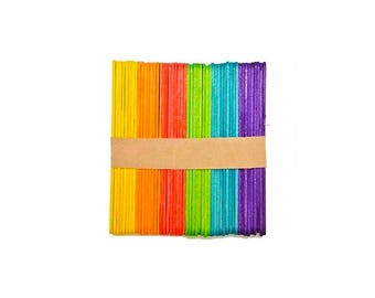 Rainbow Popsicle Sticks / Colorful Lollipop Craft Dessert Freezer Pop Handle Sticks / Party Cake Pop Handles / Fun Kids Baking Accessories