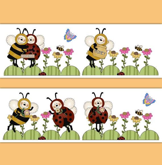 LADYBUG BEE BORDER Decals Floral Girl Nursery Wall Art