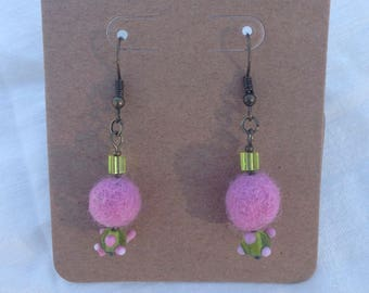 Pink Felted and Glass Bead Earrings