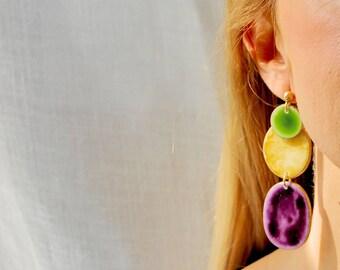 Green Earrings,Yellow Earrings, Purple Earrings, Porcelain Earrings, Large Statement Earrings, Big Earrings, Stude Large, Gift Ideas