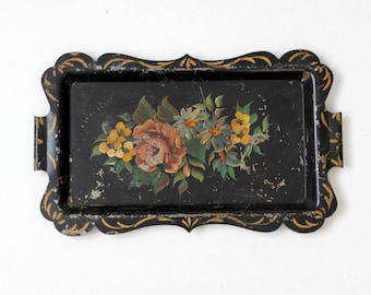 antique tole tray, Victorian hand painted metal tray