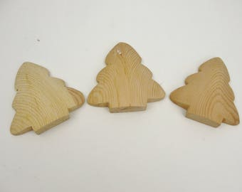 "Short Puffy tree cutout unfinished diy 4 3/16"" tall set of 3"