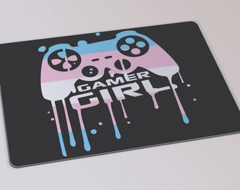 Gamer Girl-Boy mouse pad with the Transgender flag