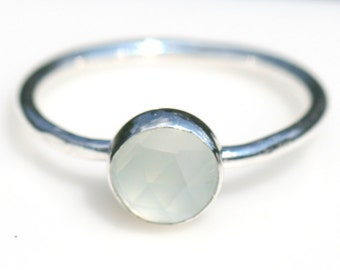Pale Green Chalcedony Ring, Rustic Silver Ring, Green Ring, Size 4.5 Ring, Thin Stacking Ring, Chalcedony Ring, Green Maggie McMane Designs