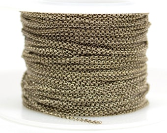 1mm Rolo Chain - Antique Silver - 1.0mm Links - CH130