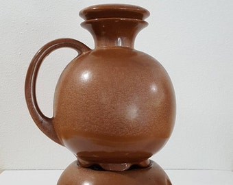 Frankoma Pottery Brown Coffee Carafe Warmer with Base & Lid - Vintage Ceramic