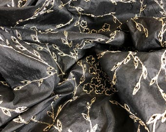 "100% Silk Beaded Embroidered Dupioni 44""w Black & Gold"