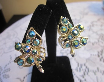 Vintage B.S.K Signed Aurora Borealis Rhinestone Clip Earrings BSK