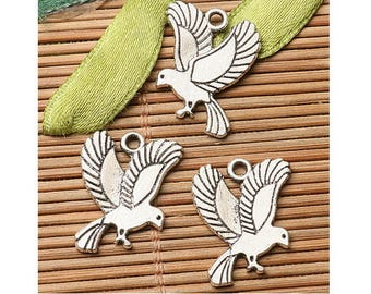 Set of 3 charms Silver Dove (B75)