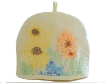 Free Motion Quilted Muslin Tea Cozy, Upcycled Dye-painted Tea Cosy