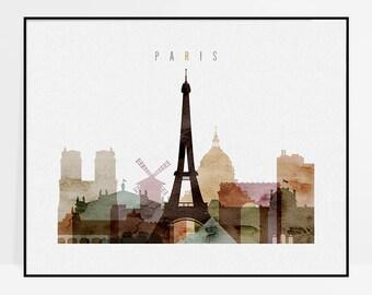 Paris wall art, Paris art print, Paris poster, Paris skyline, Paris decor