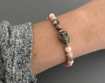 Skull Bracelet, Mini Skull Pink Opal Bracelet, Opal Jewelry, Gemstone Bracelet, Libra Bracelet, October Birthday Gifts