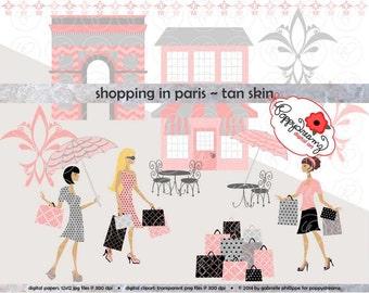 Shopping In Paris Tan Skin Fashionistas: Clip Art Pack Card Making Digital Bridal Fashion French Bridal Shower Pink & Black