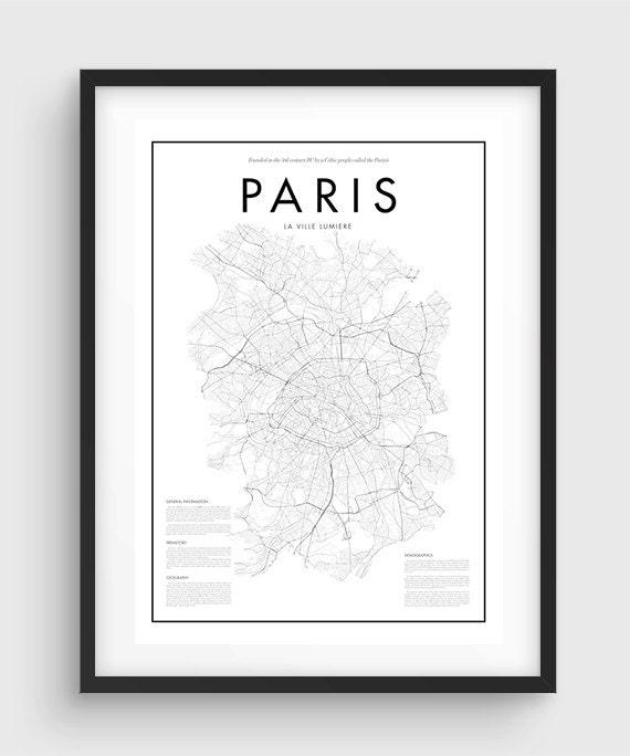 Minimal Paris Map Poster Black White Print: Paris Map Black And White At Infoasik.co