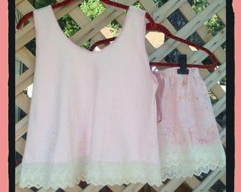 Sleepwear set, Cotton Knit,Embroidered Lace ,broderie Anglaise, Cotton and Lace , Tap Pants,Cotton Batik,women's sleep set,cotton lingerie