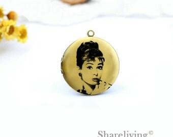 1pcs Audrey Hepburn Locket  Necklace , Antique Bronze Brass Audrey Hepburn Charm Pendant 32mm 25mm 20mm Locket - HLK167H