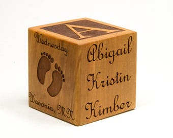 Personalized Wooden Baby Block, Personalize Gift for Nursery, Baby Room Decor, Newborn Gift, Custom Baby Block, Baptism Gift