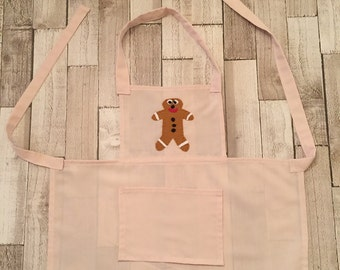 homemade children's apron, gingerbread man, cotton apron, gifts for bakers, childrens crafting, childrens protective wear, messy play.