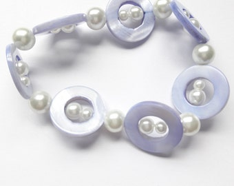 Indigo and White Mother of Pearl Stretch Bracelet
