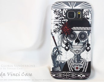 Flapper Girl Sugar Skull Galaxy S6 Case - TOUGH dual layer S 6 Case with 1920's Skull Day of The Dead Art