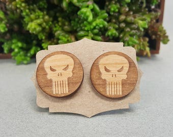Marvel Punisher Cuff Links - Laser Engraved on Alder Wood - Cufflinks Pair - Frank Castle
