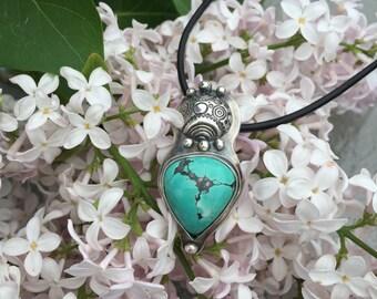 Boho Turquoise Pendant, silver pendant, boho jewelry, southwestern pendant