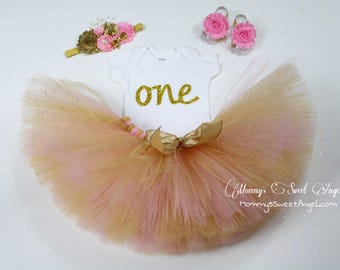 Pink and gold Birthday tutu outfit. Cake smash tutu. 1st Birthday tutu outfit. Fabric tutu outfit. Gold and pink tutu.