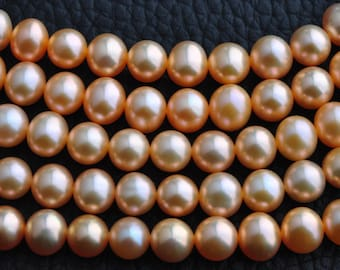 AAA 6.5-7.5mm Natural gold color freshwater pearl strand,potato shape high luster loose pearl,full strand40cm