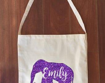 Elephant Library Bag Custom Name Calico