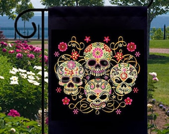 Gothic Sugar Skulls New Small Garden Flag Events Gifts Day of the Dead