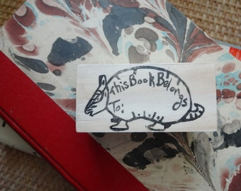This Book Belongs To...Hand Carved Rubber Stamp: Armadillo Book Stamp, Book Plate, Name Stamp, Teacher Gift, Dillo, Wildlife, Nature
