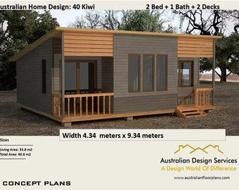40 Kiwi | 40.8 M2 | Two Bedroom   Concept House Plans For Sale | Granny