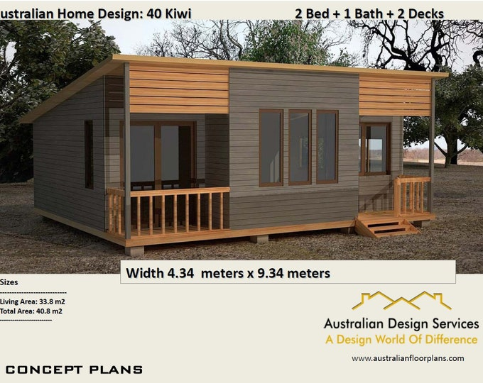 40 Kiwi | 40.8 m2 | Two Bedroom - Concept House Plans For Sale  |  granny flat 2 bed | two bedroom granny flat | modern granny flat |