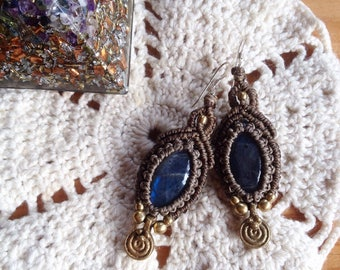 Labradorite macrame goddess earrings