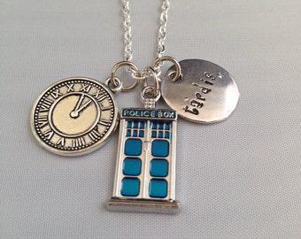 Tardis, Dr. Who Inspired Handstamped Necklace