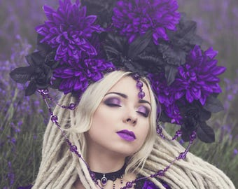 Purple black fantasy gothic fairytale floral headpiece headdress flowers beads